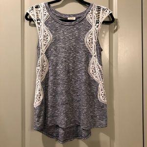 Lily White | Crochet Sleeve Knit Striped Tank Top